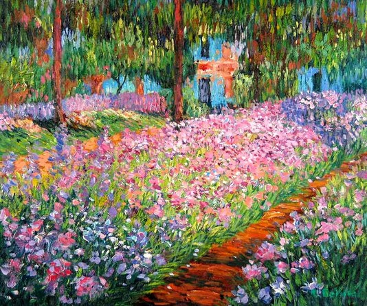 Claude monet irises in the artist 39 s garden at giverny 1900 for Garden design 1900